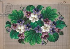 Bunch of violets embroidery design, 19th century