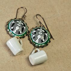 Recycled Jewelry Earrings Starbucks by wearwolf on Etsy, $32.00