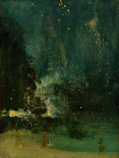 Whistler - Nocturne in Black & Gold  #art painting #abstract #turquoise