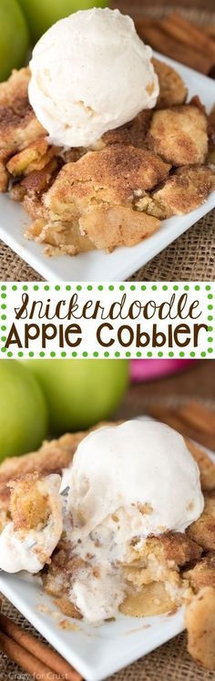 Snickerdoodle Apple Cobbler - this easy fall recipe changes the traditional cobbler into a snickerdoodle cookie cobbler!: Snickerdoodle Apple Cobbler - this easy fall recipe changes the traditional cobbler into a snickerdoodle cookie cobbler! Fall Dessert Recipes, Fall Recipes, Just Desserts, Sweet Recipes, Delicious Desserts, Yummy Food, Apple Recipes Easy, Dessert Blog, Fall Desserts