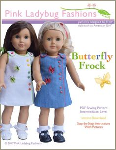 Pink Ladybug Butterfly Frock Doll Clothes Pattern 18 inch American Girl Dolls | Pixie Faire