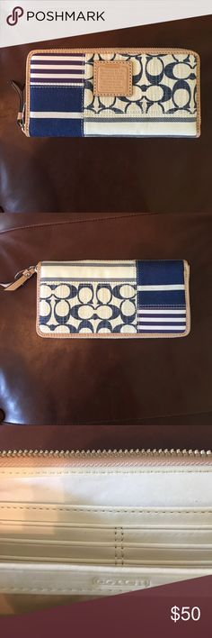 Coach wallet - NWOT Top zip with multiple compartments, leather trim Coach Bags Wallets