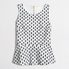 """J Crew Factory Ponte Peplum Top Pattern is """"allover floral"""". White with navy bud pattern. Cotton. Machine wash. 18"""" bust. 17"""" waist. 25"""" long. J.Crew Factory Tops"""