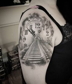 Clock train track tattoo - 100 Awesome Watch Tattoo Designs