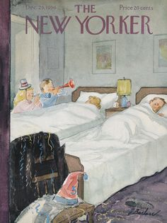 THE NEW YEAR The morning after, art by Perry Barlow. Detail from December 1956 New Yorker Magazine cover. Roger Wilkerson, The Suburban Legend! The New Yorker, New Yorker Covers, Capas New Yorker, New Year Illustration, Christmas Cover, Vintage Christmas, Magazine Art, Magazine Covers, Vintage Magazines