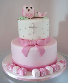 Pink Owl Christening by Takes the Cake - Children Cupcakes, Cupcake Cakes, Beautiful Cakes, Amazing Cakes, Religious Cakes, Confirmation Cakes, Owl Cakes, Christening Cakes, Dream Cake