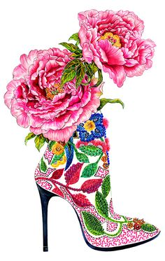 Shoe Addiction - Inspired by pink peonies & Barbara Bui High Heel  - Fashion illustration by Sunny Gu #fashion #illustration #fashionillustration #sunnygu #fashionshoe #shoes #flowers