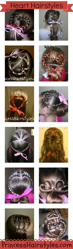 Tons Of Heart Hairstyle Ideas And Tutorials: http://www.princesshairstyles.com/2009/01/valentines-day-hairdos.html