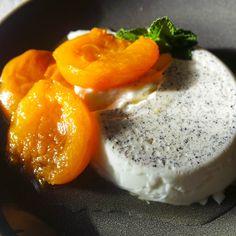 ... At Robert Ridge: Honey poached apricots with vanilla cardamom panna