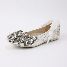 Satin Women's Wedding Flat Heel Ballerina Flats With Rhinestone Shoes (More Colors) – AUD $ 106.24