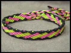 ► Friendship Bracelet Tutorial 20 - Intermediate - Slanted Brick Stitches