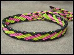 ► Friendship Bracelet Tutorial 20 - Intermediate - Slanted Brick Stitches - YouTube