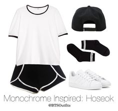 """""""Monochrome Inspired: Hoseok"""" by btsoutfits ❤ liked on Polyvore featuring MANGO, adidas, Hot Topic and Monki"""