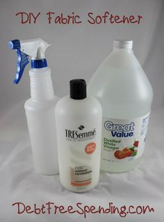 DIY Fabric Softener + Softener Sheets! -->http://www.debtfreespending.com/diy-fabric-softener-fabric-softener-sheets/