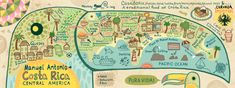 Mapa ilustrado de Manuel Antonio, Costa Rica - by Kaitlyn McCane from Philadelphia
