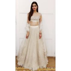 White lehenga - All About Indian Bridal Outfits, Indian Designer Outfits, Indian Dresses, Designer Dresses, Lehenga Choli Designs, Indian Lehenga, Lehenga White, Indie Mode, Lehnga Dress