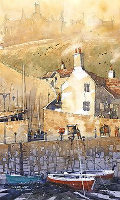 Crail Harbor No.4 by Iain Stewart Watercolor ~ 12 x 7