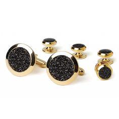 Black Diamond Dust Center Wide Bezel Gold Cufflinks and Studs Set