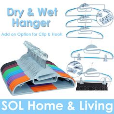 [S$16.90][SOL HOME]SOL HOME - 20/40pcs Non Slip Wet And Dry Clothes Hanger with optional add on Clips and Hooks.