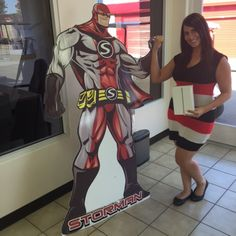 StorMan and Jessica Q. from KOLA 99.9 FM fist bump after she won an iPad from StorQuest at the Inland Empire's Largest Mixer this week. #largestmixer