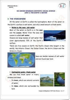 """Unidad 4 de Social Science de 4º de Primaria: """"Water"""" Salt And Water, Fresh Water, Earth Surface, Social Science, The Unit, Socialism, Knowledge, Learning, Teaching Resources"""