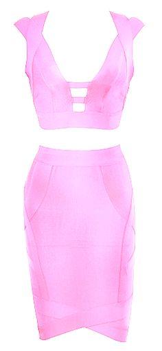 Sonia 2-Piece Bandage Dress from www.RawGlitter.com  http://www.rawglitter.com/collections/new-arrivals/products/sonia-2-piece-pink-bandage-dress