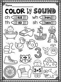 Phonics worksheets galore - color by sound for digraphs ch th sh wh Más Teaching Phonics, Phonics Worksheets, Phonics Activities, Teaching Reading, Learning, Blends Worksheets, Kindergarten Language Arts, Kindergarten Literacy, First Grade Reading