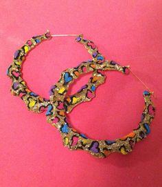 Cheetah Print Glitter Bamboo Earrings via Etsy