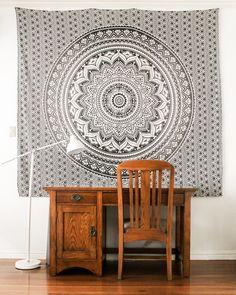 Decor, Room, Nook, Room Transformation, Tapestry, Home Decor, Study Nook, Medallion Tapestry, Bohemian Room