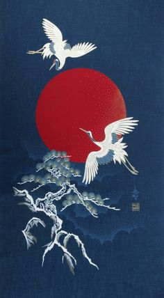 Retro Wallpaper Discover New Japanese cotton Noren quilting panel cloth - flying cranes moon and tree Japanese Artwork, Japanese Tattoo Art, Japanese Painting, Japanese Art Modern, Traditional Japanese Art, Japanese Poster, Chinese Painting, Vintage Japanese, Desenho New School