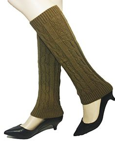 4square Women One Size Khaki Elise Winter Knit Crochet Leg Warmers Leggings >>> Read more reviews of the product by visiting the link on the image.