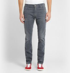 Nudie Jeans Thin Finn Slim-Fit Washed-Denim Jeans with Adidas Originals Gazelle OG Suede and Leather Sneakers (Red)