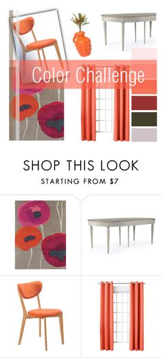 """""""Color Challenge: Peach & Gray"""" by flytotheworld ❤ liked on Polyvore featuring interior, interiors, interior design, home, home decor, interior decorating, SANDERSON, Martel, Dot & Bo and Sun Zero"""