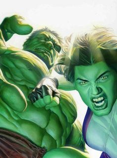 Alex Ross-Hul-She-Hulk Comic Art