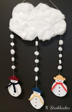 Mobile de bonshommes de neige en sagex Holiday Crafts For Kids, Kids Crafts, Diy And Crafts, Arts And Crafts, Winter Kids, Winter Art, Winter Theme, Winter Activities, Christmas Activities