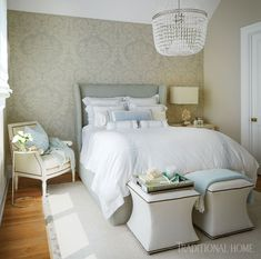This muted respite includes a complementary custom bed frame, a creamy leather chair, and white linen ottomans. Luxury is suspended from the ceiling in the form of a seeded-glass chandelier. Guest Bedrooms, Master Bedroom, Bedroom Decor, Dream Bedroom, Bedroom Ideas, Traditional Bedroom, Traditional House, Custom Bed Frame, Room Additions