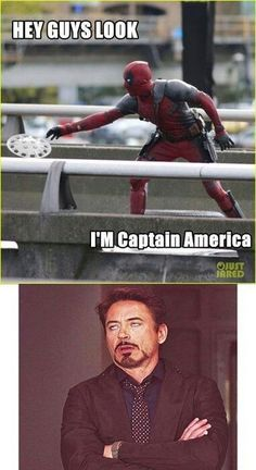 marvel deadpool Hey guys look.so funny Avengers Humor, Marvel Jokes, Avengers Quotes, Funny Marvel Memes, Dc Memes, The Avengers, Funny Comics, Deadpool Quotes, Funny Memes