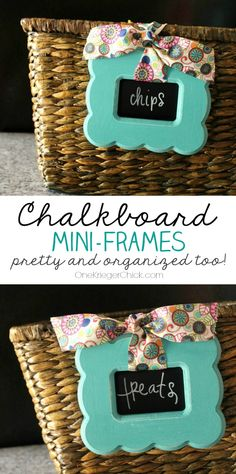 Get Organized with Chalkboard Mini-Frames! Dress up those boring baskets with fun mini chalkboards- I LOVE this idea!