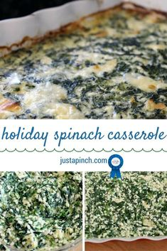 Holiday Spinach Casserole This casserole is so cheesy and creamy. The casserole with all the ingredients sort of sets like a souffle. It's pretty easy to make, and I often make it for holidays. Spinach Casserole, Vegetable Casserole, Casserole Dishes, Casserole Recipes, Spinach Recipes, Vegetable Recipes, Vegetarian Recipes, Vegetable Appetizers, Cooking Recipes