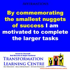 Affirmations: I am motivated. www.transformationcourses.online For 50+ VERY AFFORDABLE Personal Development And Entrepreneur Training Online Courses