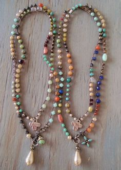 Colorful long crochet wrap necklace 'Boho