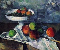 Compotier, Glass and Apples by @cezanneart #postimpressionism
