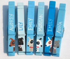 DOG PARTY FAVOR 6 hand painted clothespin magnets by SugarAndPaint, $15.00