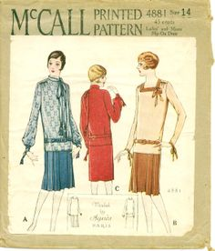 1920s Sewing Pattern - RARE Roaring 20's Pattern - 1920's Misses' Slip-On Dress - McCALL 4881