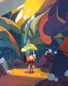 travel by mechta karma on ArtStation. Art And Illustration, Illustrations And Posters, Character Illustration, Illustration For Children, Fantasy Kunst, Fantasy Art, Environment Concept Art, Environmental Art, Cute Art