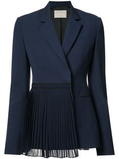 Jason Wu Pleated Panel Blazer In Blue Fashion Details, Look Fashion, Fashion Show, Womens Fashion, Fashion Design, Blazer Fashion, Hijab Fashion, Fashion Dresses, Classy Outfits