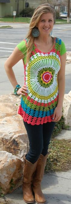 Crblusa de croche colorida