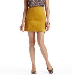 Wide Wale Corduroy Mini Skirt, Mustard
