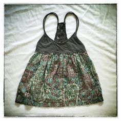 Free People Paisley tank XS Ultra cute Free People tank. Brown cotton linen blend bodice with double straps and lace back detail, and cotton paisley print in green blue and pink with a hint of lurex. Perfect weekend wear paired with denim cut-offs and strappy sandals.  Always hand washed cold and dried flat. Free People Tops Tank Tops