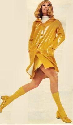Vintage Shiny Yellow Raincoat